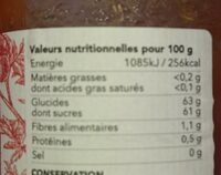 Confiture de tomates bio rouge - Informations nutritionnelles - fr
