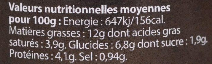 Le Farci Poitevin à DD - Informations nutritionnelles