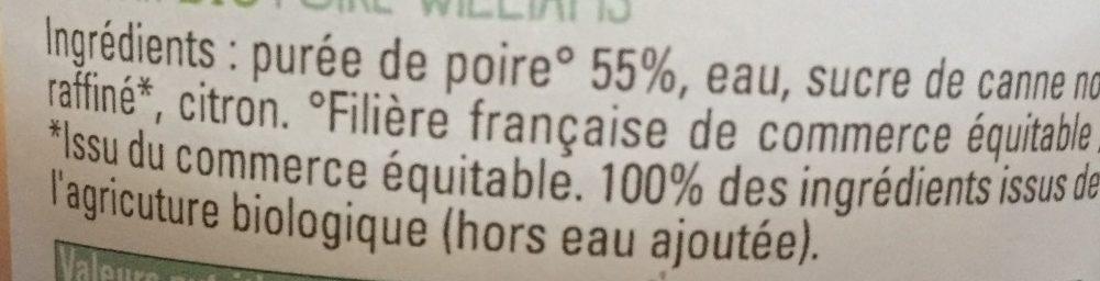 Nectar bio poire williams - Ingrédients - fr