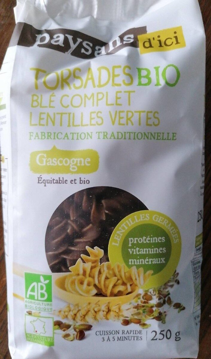 Torsades bio blé complet lentilles vertes - Produit