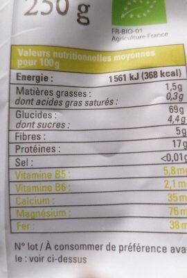 Torsades bio blé complet lentilles vertes - Informations nutritionnelles