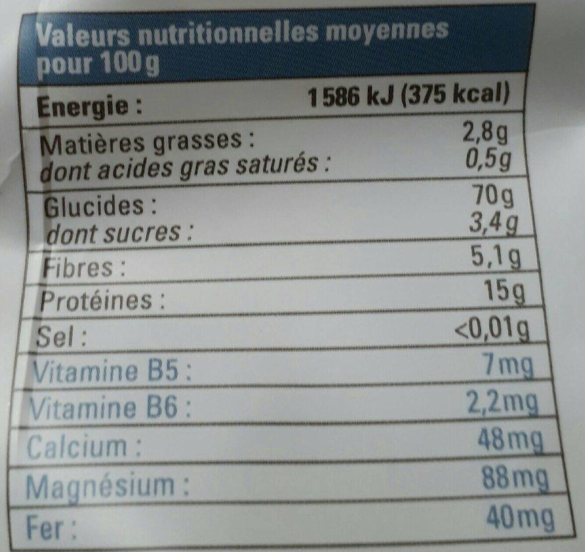 Torsades bio au blé complet et pois chiches - Nutrition facts - fr