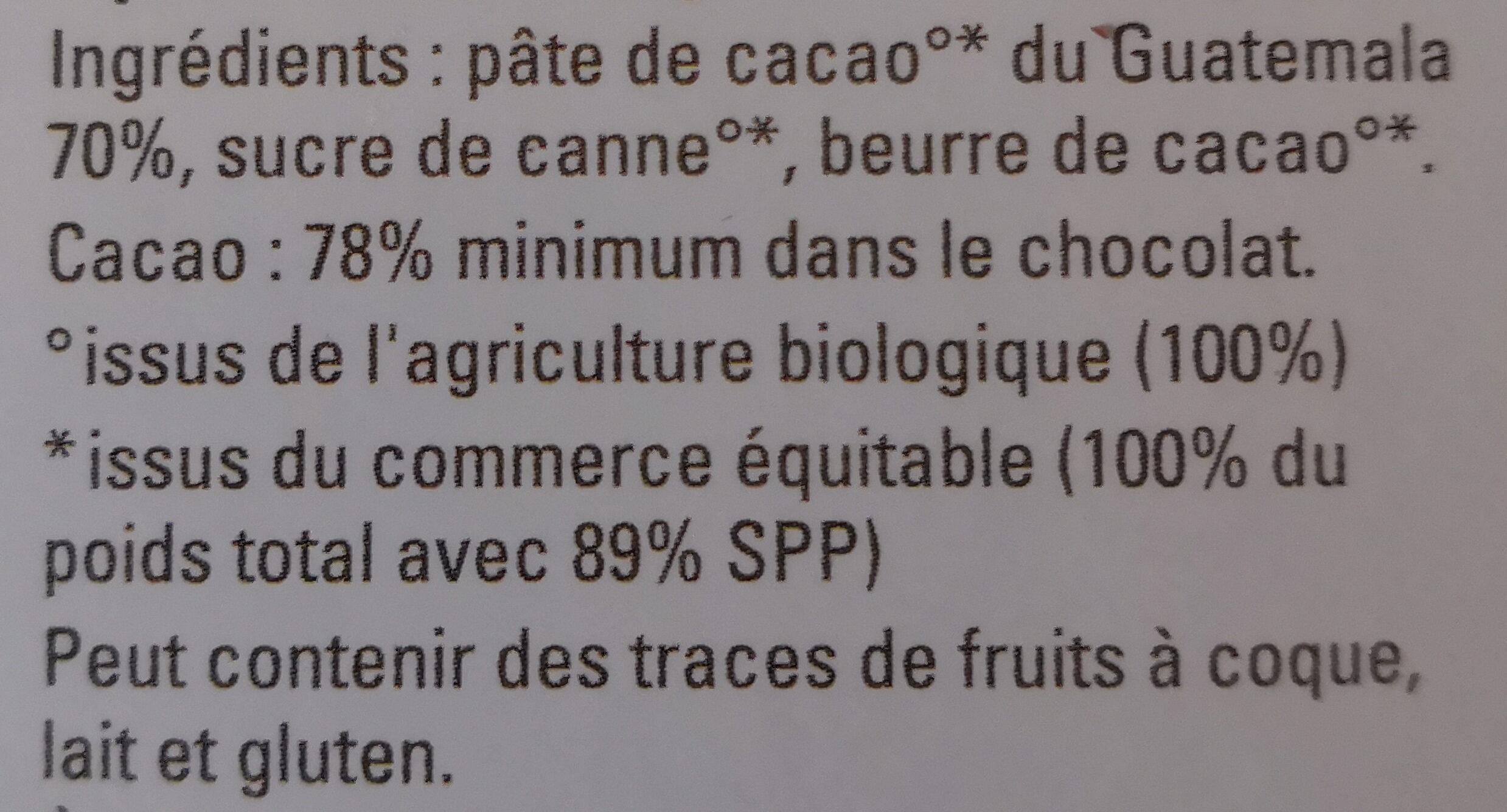 Guatemala chocolat - Ingredients