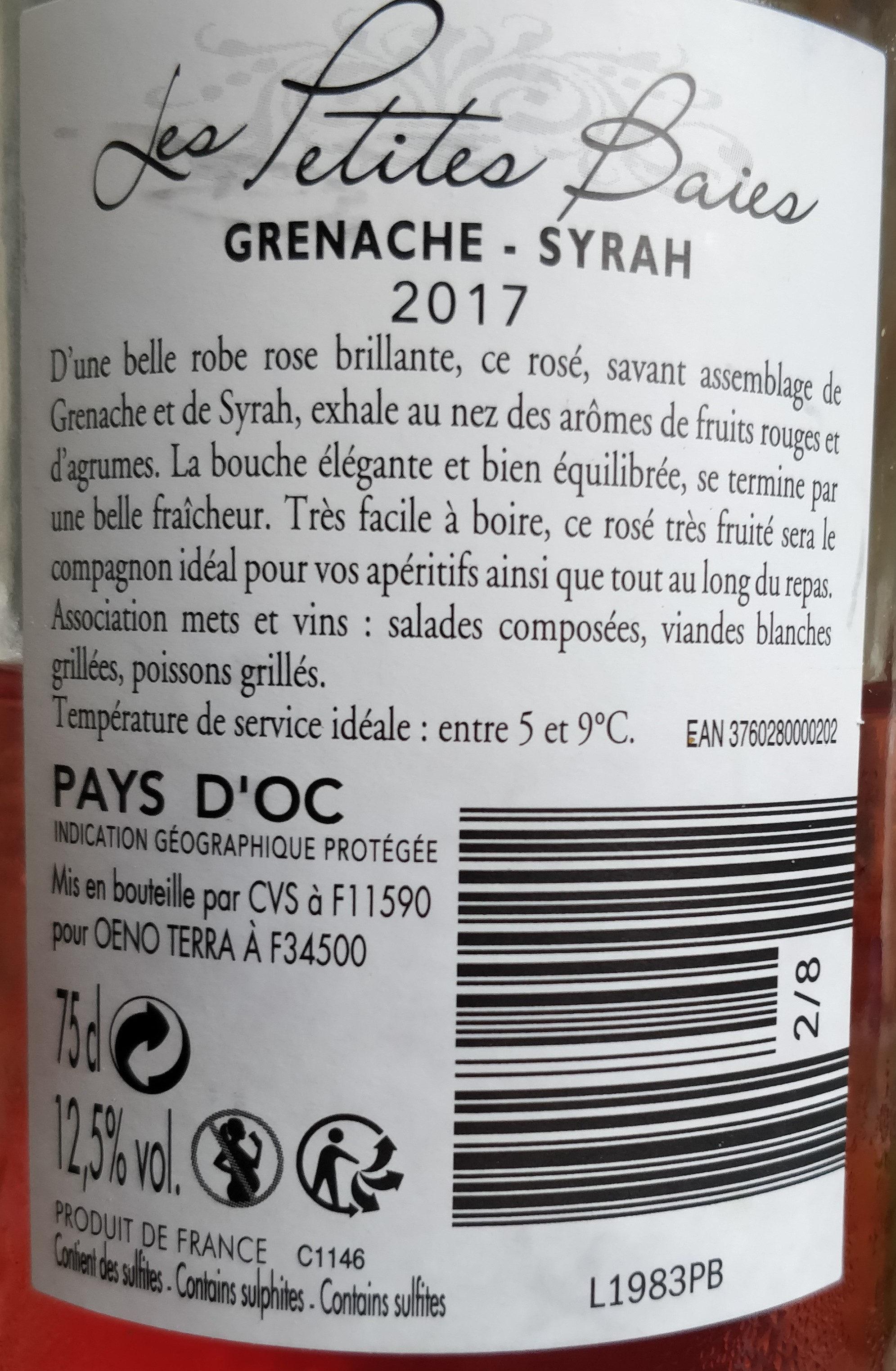 vin rosé Pays d'Oc - Ingrédients - fr