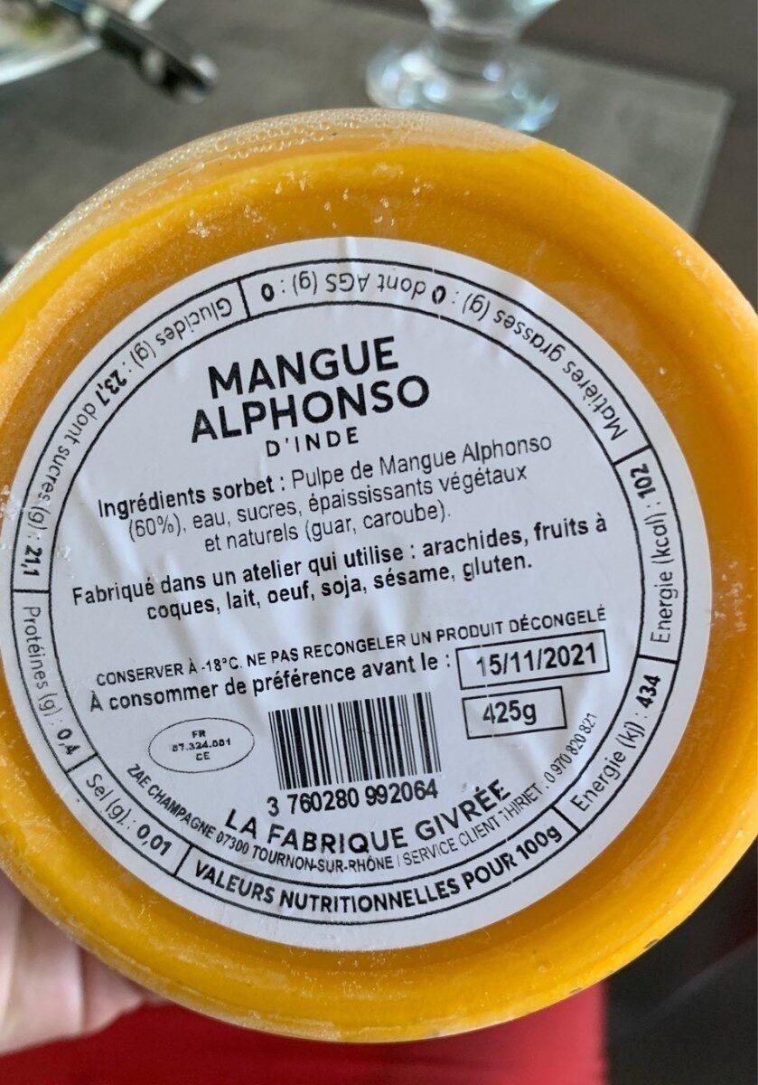 Sorbet Tordant - Mangue Alphonso - Nutrition facts - fr