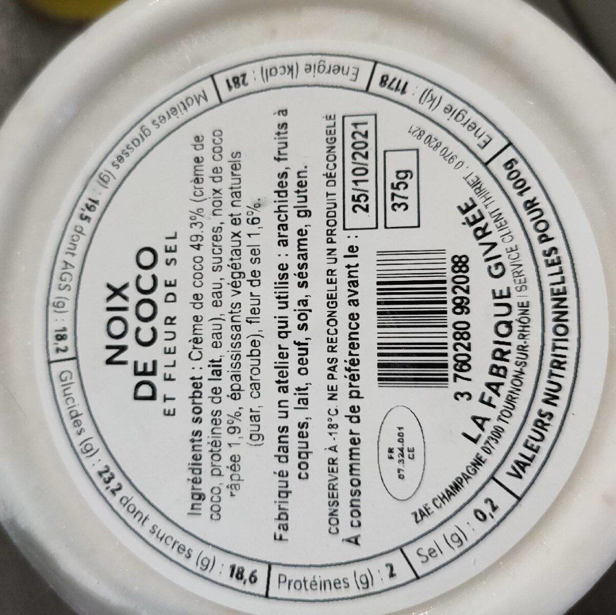 Sorbet noix de coco - Nutrition facts - fr