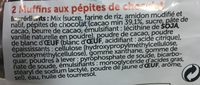 2 muffins pepite chocolat - Ingredients - fr