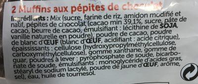 2 muffins pepite chocolat - Ingrédients - fr