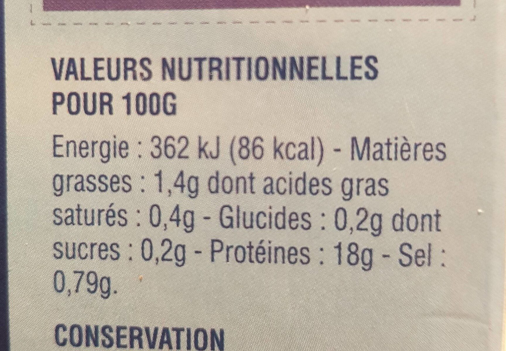 noix de Saint Jacques - Nutrition facts - fr