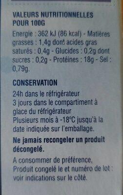 noix de Saint Jacques - Informations nutritionnelles