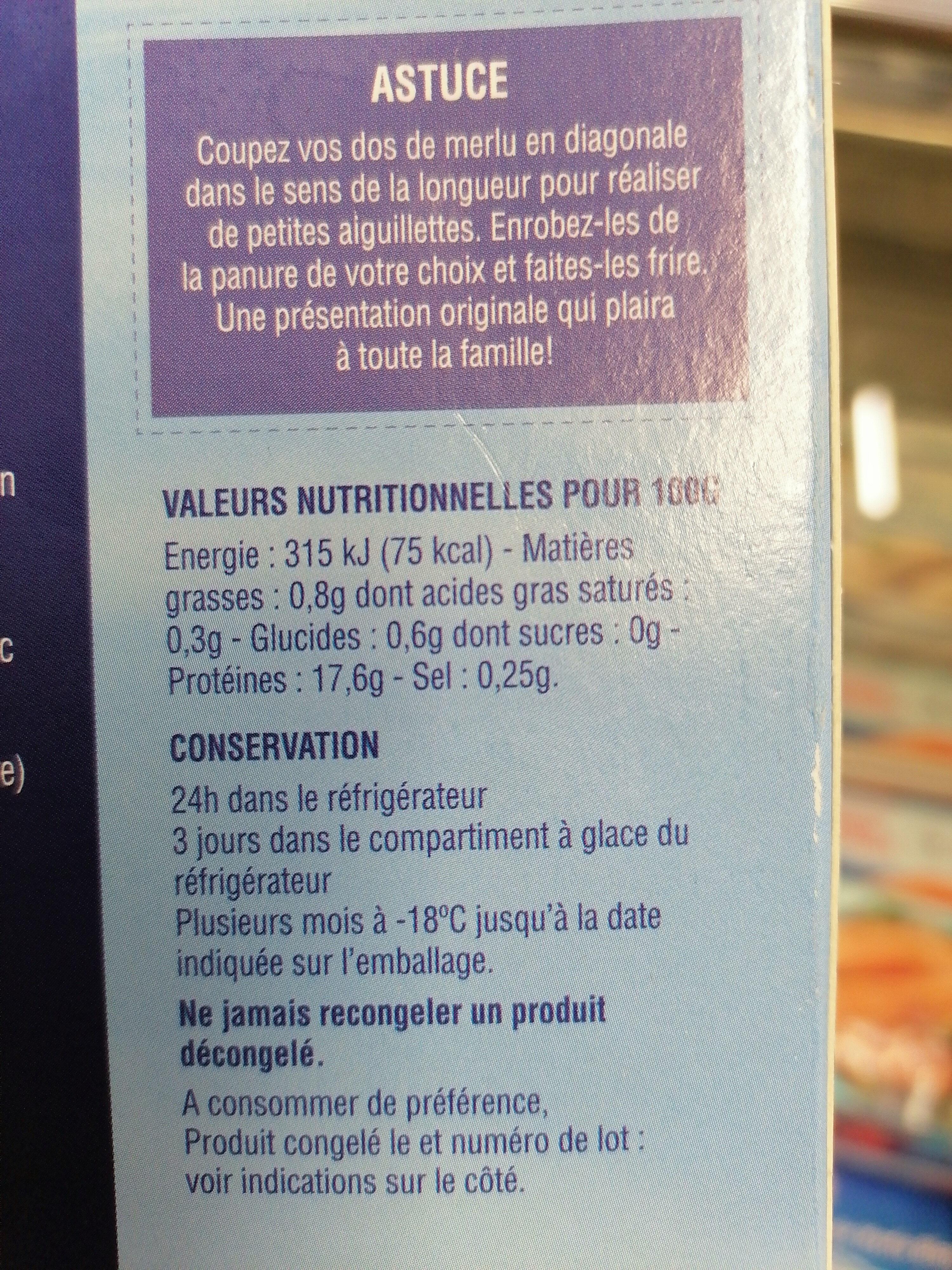4 Dos de Merlu blanc du Cap - Informations nutritionnelles - fr