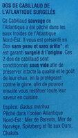 Dos de cabillaud de l'Atlantique - Ingrédients - fr