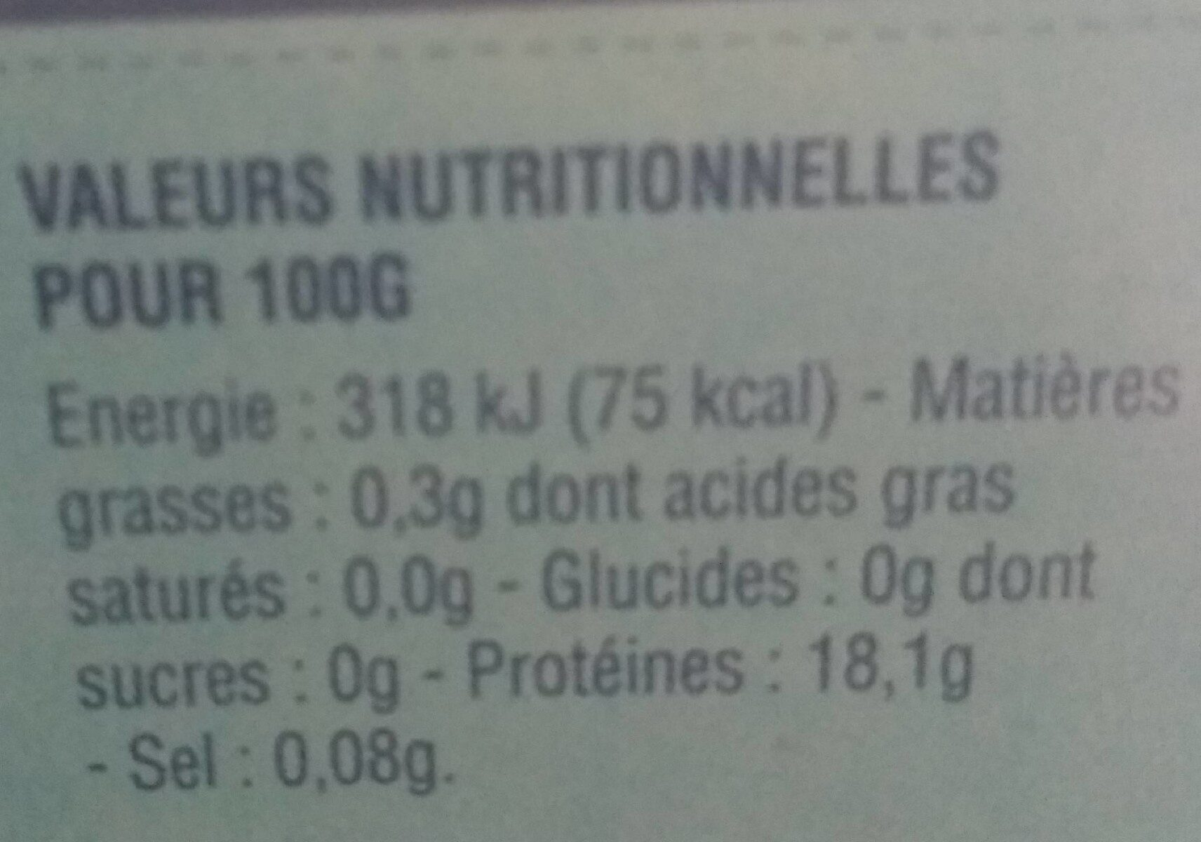 Dos de cabillaud de l'Atlantique - Informations nutritionnelles - fr