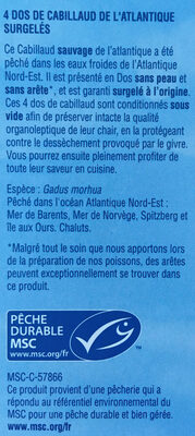 4 dos de cabillaud de l'Atlantique - Ingrédients - fr