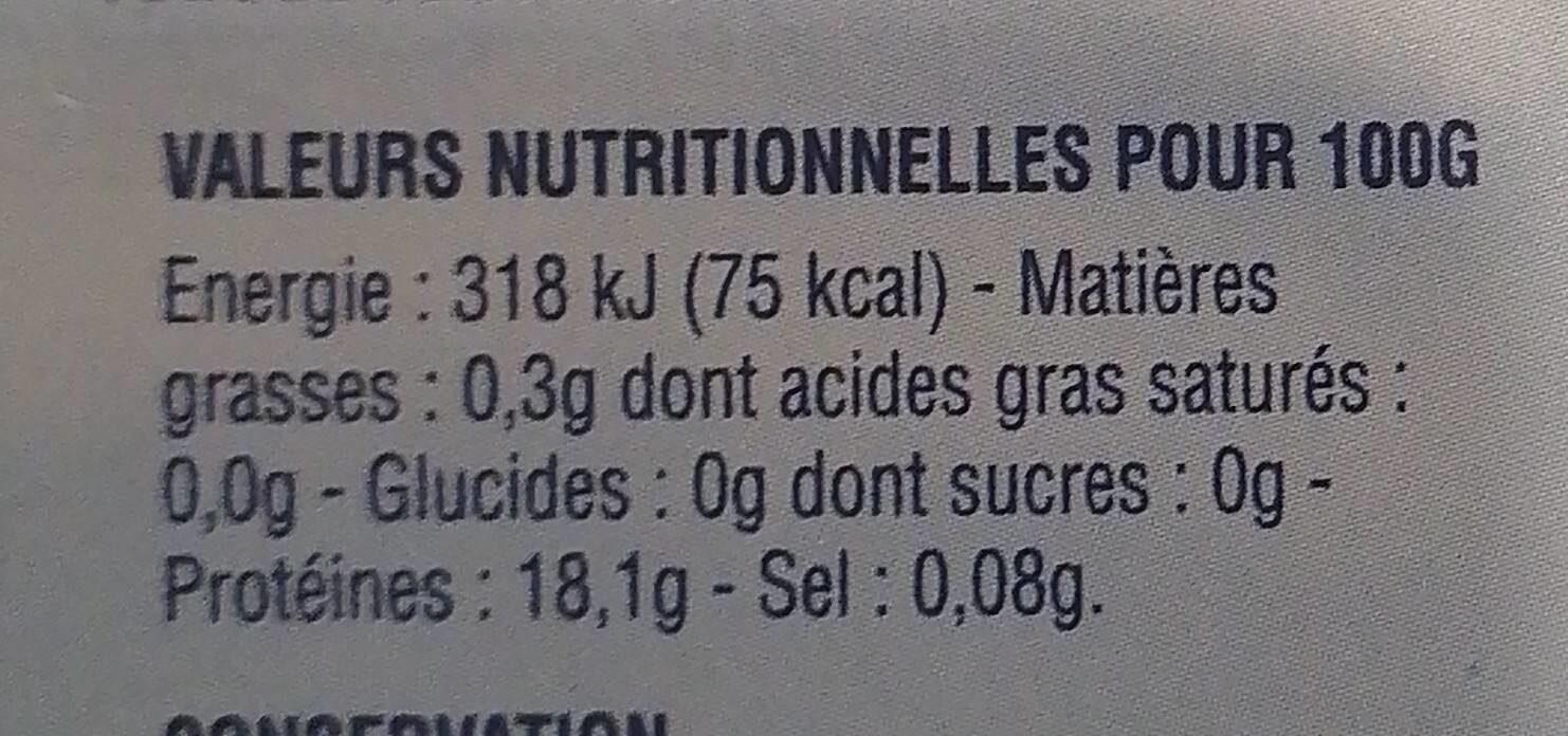 4 dos de cabillaud de l'Atlantique - Informations nutritionnelles - fr
