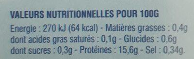 Filets de lotte du Cap - Informations nutritionnelles - fr