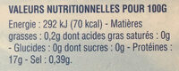 Dos de Colin d'Alaska surgelés - Informations nutritionnelles - fr