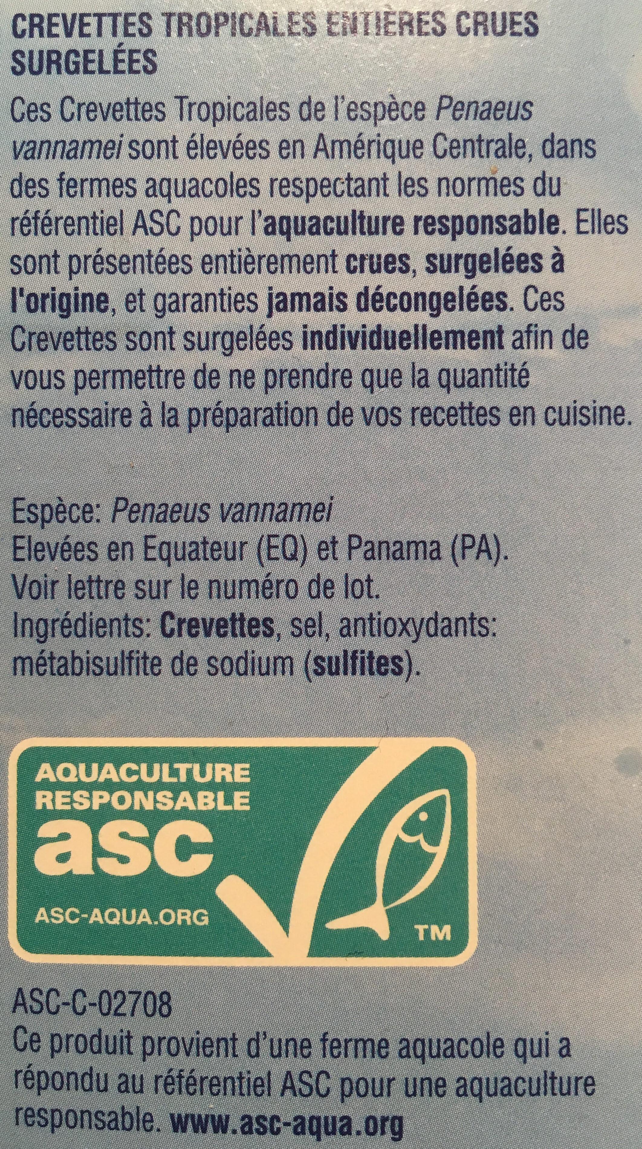 Crevettes tropicales entières crues - Ingrédients - fr