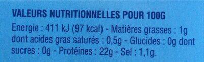 Crevettes tropicales entières crues - Informations nutritionnelles - fr