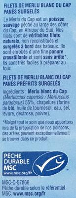 Filets de merlu blanc du Cap panés - Ingrédients