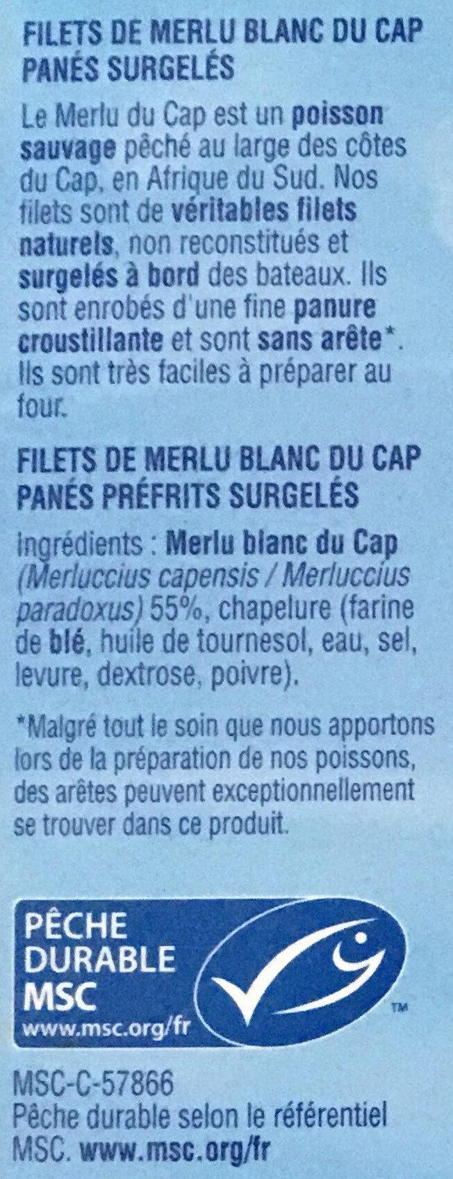 Filets de merlu blanc du Cap panés - Ingrédients - fr