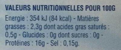 Filets Dorade-Sébaste avec peau MSC - Informations nutritionnelles