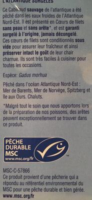 Coeurs de filets de cabillaud de l'Atlantique - Ingrédients