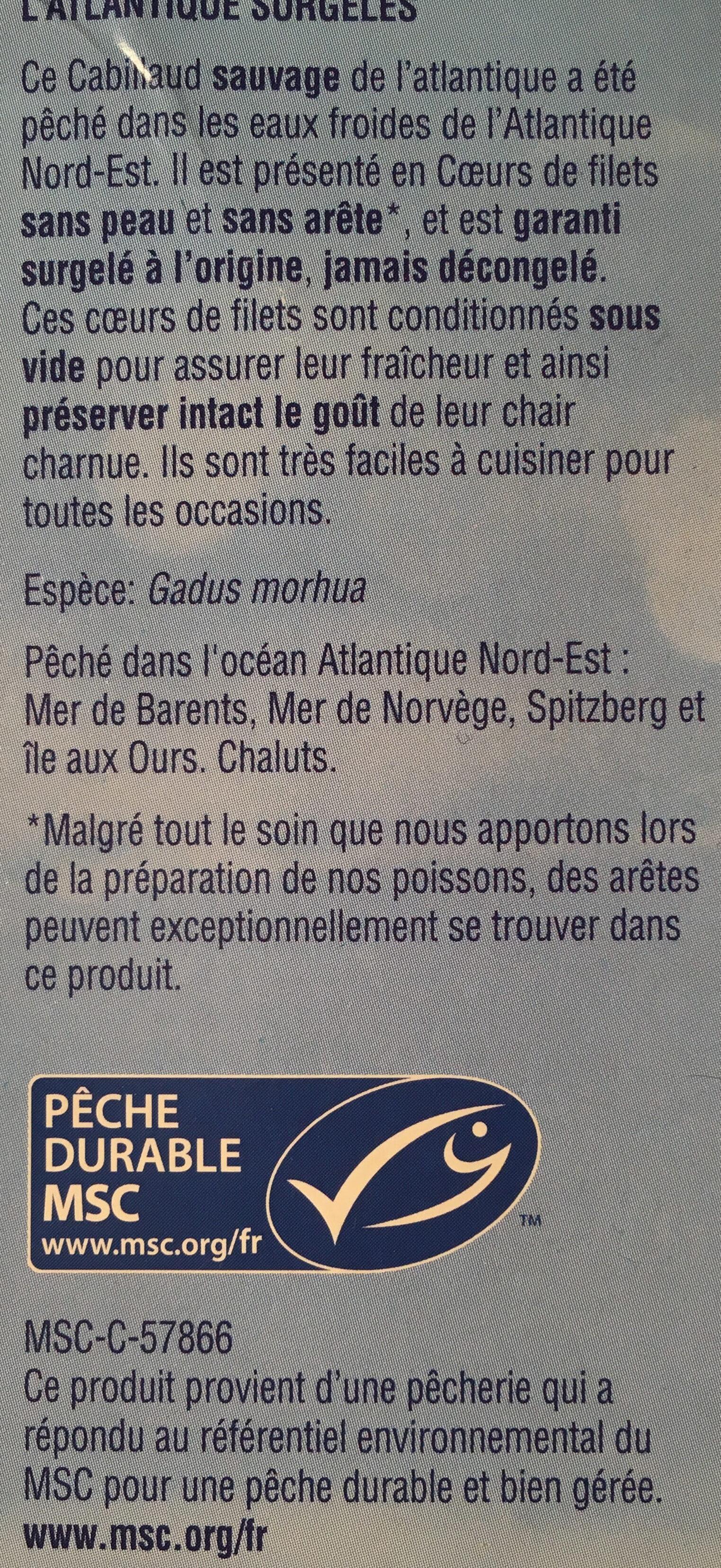 Coeurs de filets de cabillaud de l'Atlantique - Ingrédients - fr