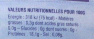 Coeurs de filets de cabillaud de l'Atlantique - Informations nutritionnelles - fr