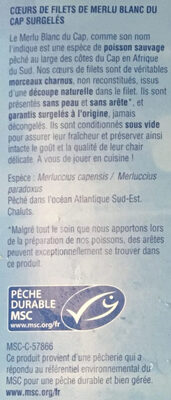 Cœurs de filets de merlu blancs du cap - Ingrédients