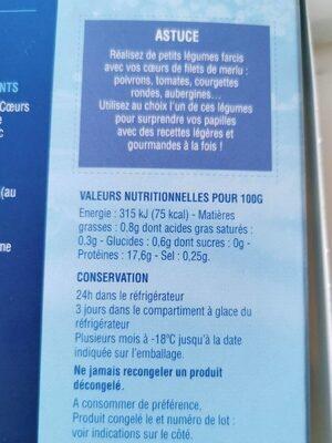 Cœurs de filets de merlu blancs du cap - Informations nutritionnelles