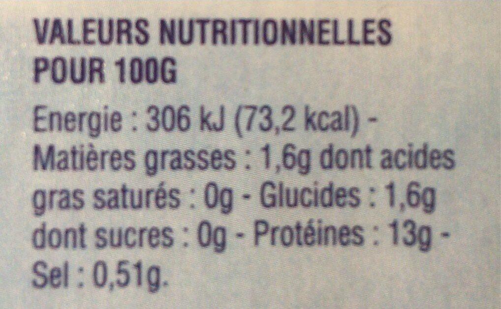 Calmars du Cap nettoyés - Informations nutritionnelles - fr