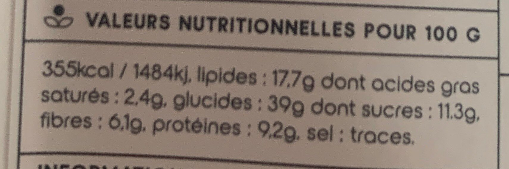 Granola - Nutrition facts - fr