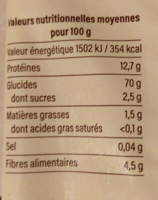 Spaghetti blé dur demi complet - Informations nutritionnelles - fr