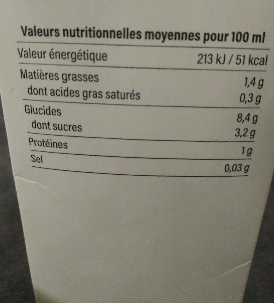 Boisson d'avoine - Valori nutrizionali - fr
