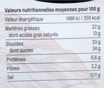 Fondant au chocolat noir - Informations nutritionnelles - fr