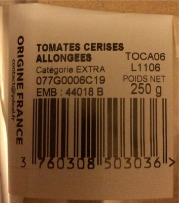 Tomates cerises allongées - Nutrition facts - fr