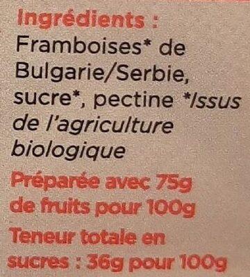 Les tartines bio Framboise - Ingrédients - fr