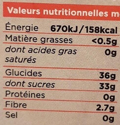 Les tartines bio Framboise - Informations nutritionnelles - fr