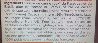 Chocolat pâtissier 56% bio et équitable - 200g - Ingredienti - fr