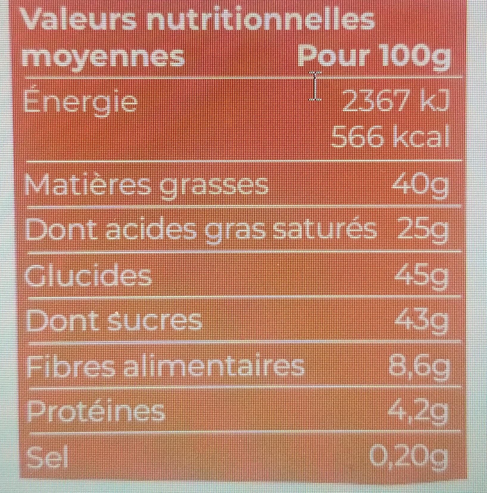 Chocolat pâtissier 56% bio et équitable - 200g - Valori nutrizionali - fr