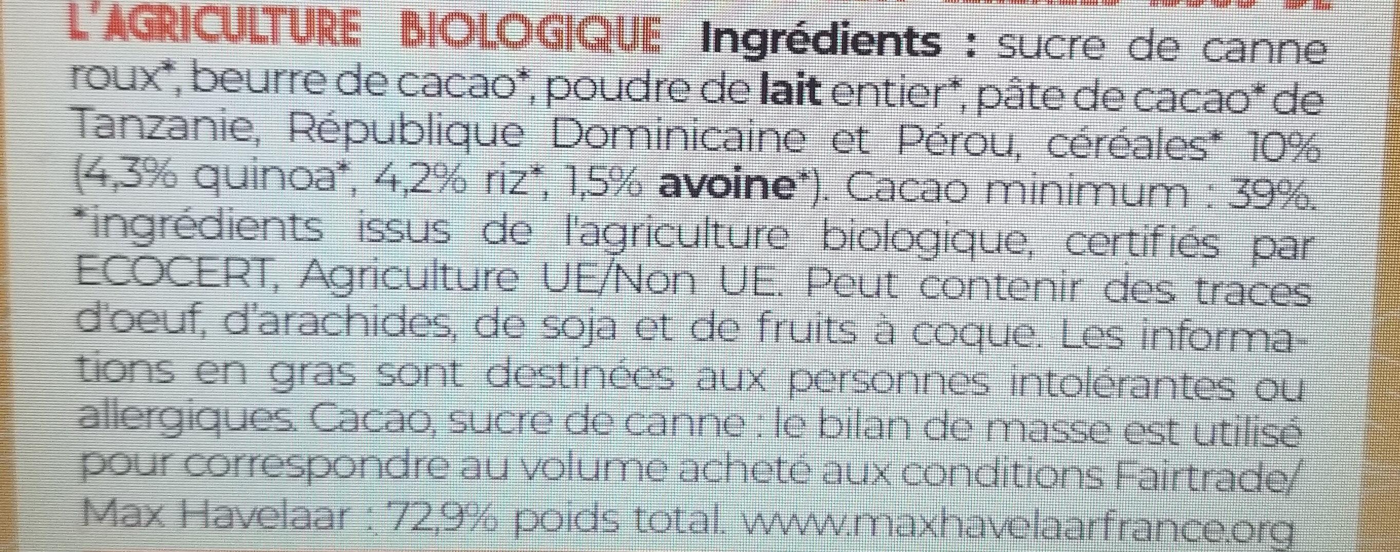 Chocolat au lait et aux cereales bio et equitable 100g - Ingredienti - fr