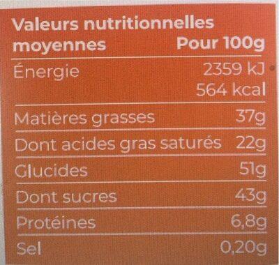 Chocolat au lait et aux cereales bio et equitable 100g - Valori nutrizionali - fr