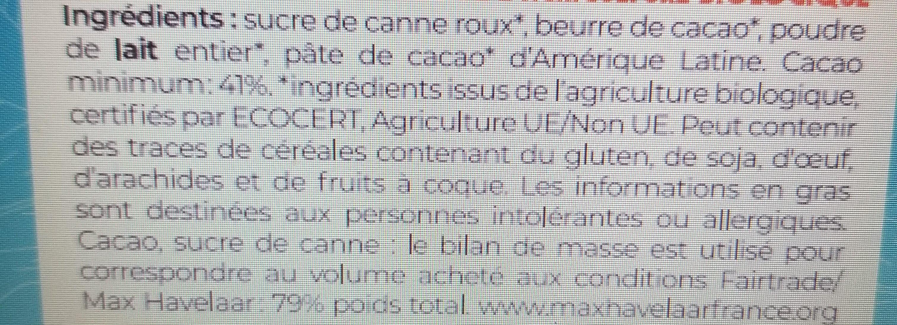 Chocolat au lait 41% bio et equitable 100g - Ingredienti - fr