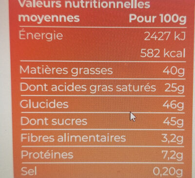 Chocolat au lait 41% bio et equitable 100g - Valori nutrizionali - fr