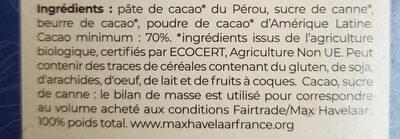 Chocolat noir 70% bio et équitable - 100g - Ingredienti - fr