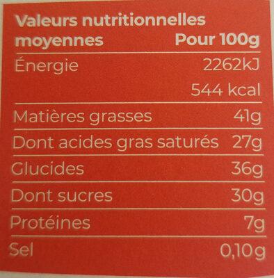 Chocolat noir 70% bio et équitable - 100g - Valori nutrizionali - fr