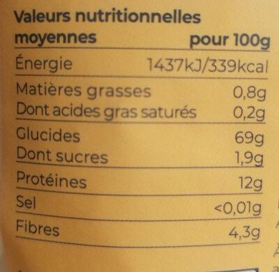 Farine de blé Bio T65 1Kg - Informations nutritionnelles - fr