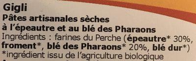 Gigli Épeautre et Blé des Pharaons - Ingrédients