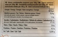 Moelleux Bio - orange douce - Nutrition facts - fr
